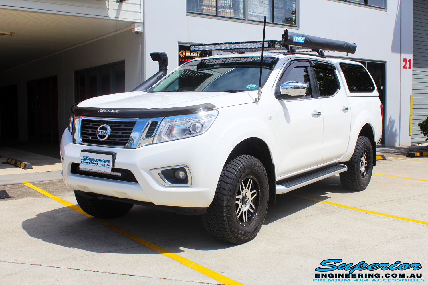 "Left front side view of a Nissan NP300 Navara Dual Cab after fitment of a Bilstein 2"" Inch Lift Kit with King Coil Springs"