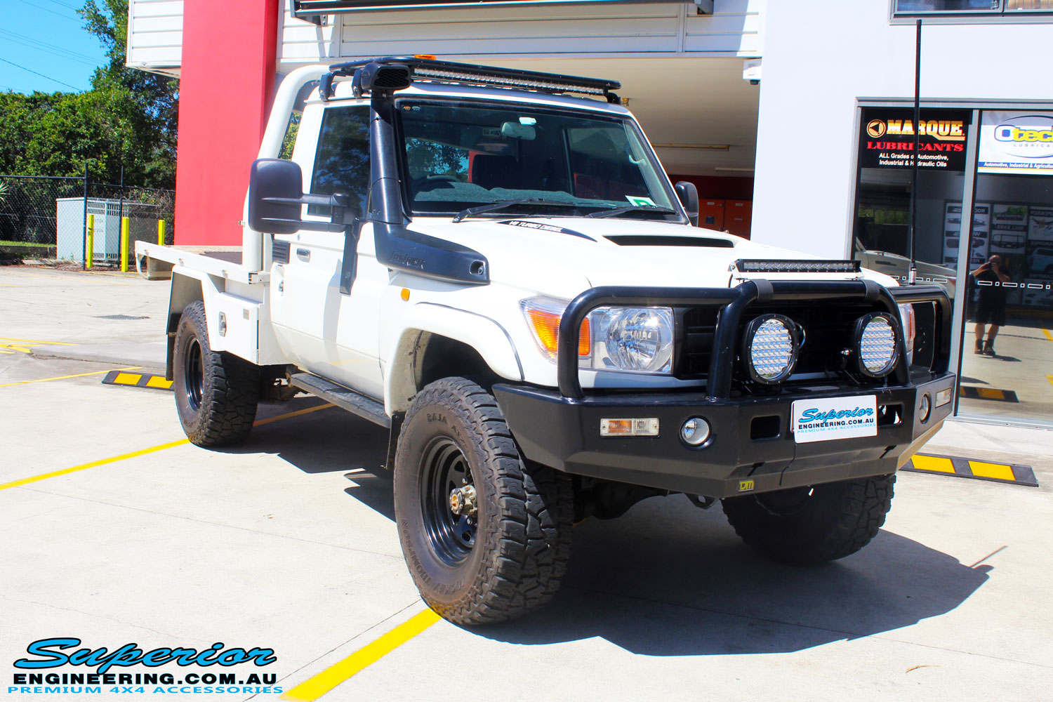 Right front side view of a Toyota 79 Series Landcruiser Single Cab Ute before fitment of a Superior Brake Booster